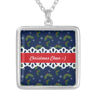 Christmas Cheer Holly Berries Pattern Silver Plated Necklace