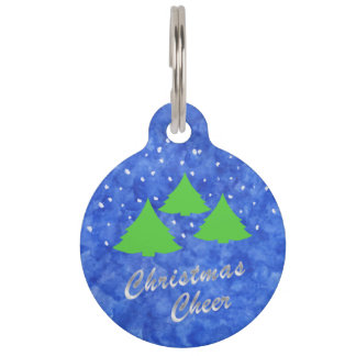 Christmas Cheer in Royal Blue and Lime Green Pet Name Tag