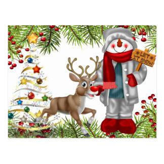 christmas cheer snowman reindeer scene postcard 1