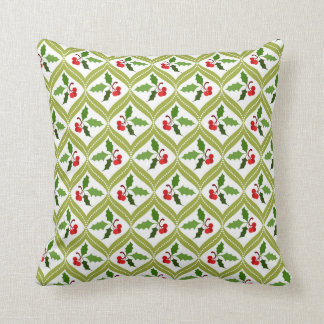 Christmas cherry red green pattern cushion