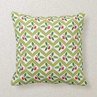 Christmas cherry red green pattern cushion