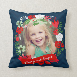 Christmas Chevron Floral Wreath Photo Personalized Cushions