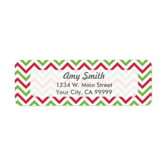 Christmas Chevron Pattern Red and Green Return Address Label