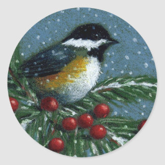 CHRISTMAS: CHICKADEE: STICKERS