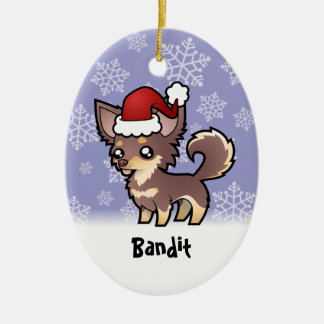 Christmas Chihuahua add your pets name Christmas Tree Ornaments