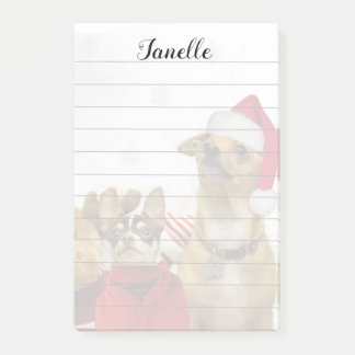 Christmas Chihuahua Dogs post it notes pad
