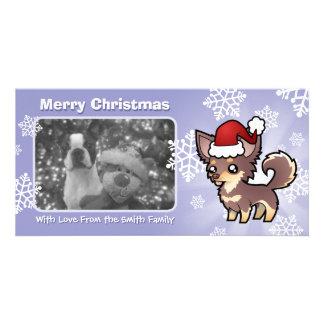 Christmas Chihuahua (long coat) Personalised Photo Card