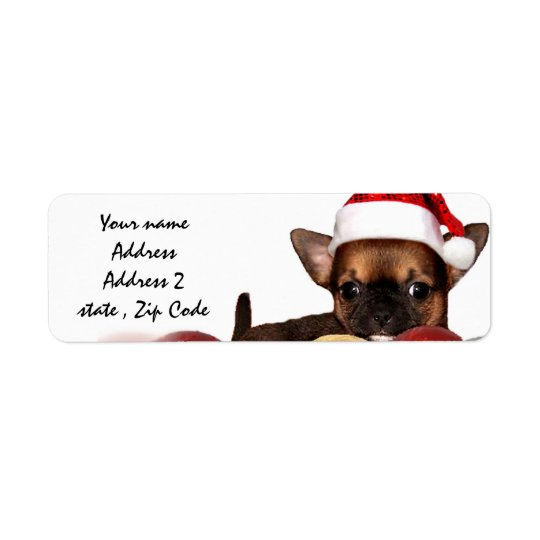 Christmas chihuahua puppy address labels