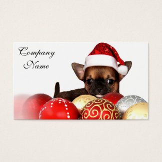 Christmas chihuahua puppy business card