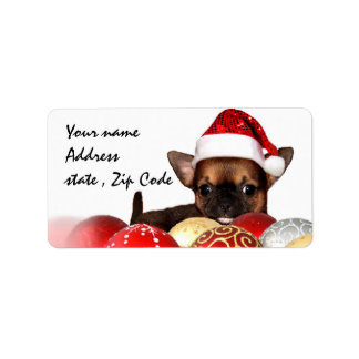 Christmas chihuahua puppy shipping labels