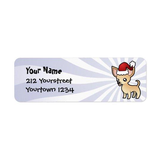 Christmas Chihuahua (smooth coat) Return Address Label