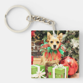Christmas - Chihuahua X - Buster Square Acrylic Keychains