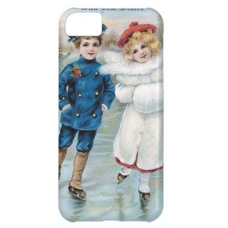 Christmas, Children ice skating iPhone 5C Case