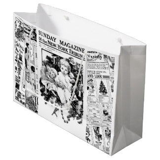 Christmas Children Vintage Newspaper gift bag