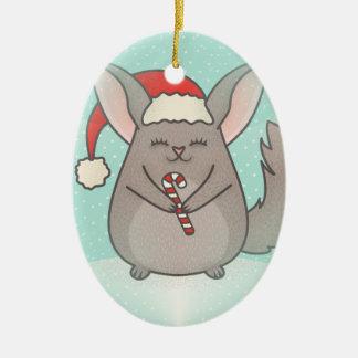 christmas chinchillas ceramic ornament
