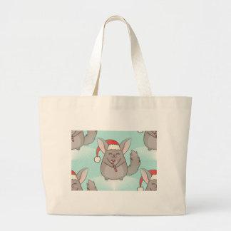 christmas chinchillas large tote bag