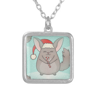 christmas chinchillas silver plated necklace