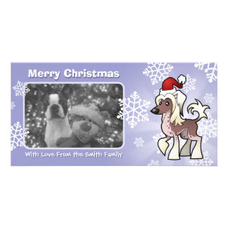 Christmas Chinese Crested (hairless) Personalized Photo Card