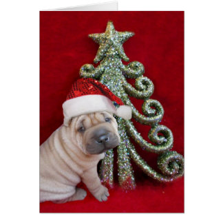 Christmas Chinese shar pei puppy Greeting Card