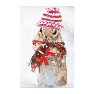 Christmas chipmunk canvas print