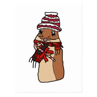 Christmas Chipmunk Hamster Gerbil Cartoon Drawing Postcard