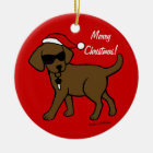 Christmas Chocolate Lab Puppy Santa Hat Ceramic Ornament
