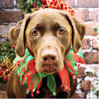 Christmas - Chocolate Labrador - Hershey Standing Photo Sculpture