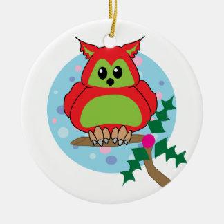 Christmas  Chubby Owl Ornament