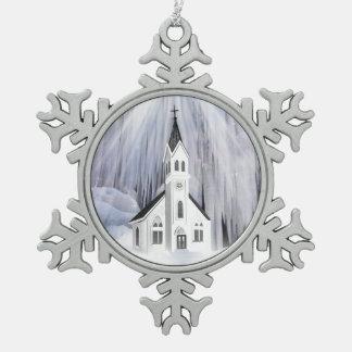 Christmas Church Pewter Snowflake Decoration