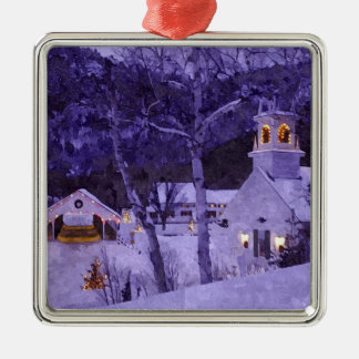 Christmas Church Silver-Colored Square Decoration