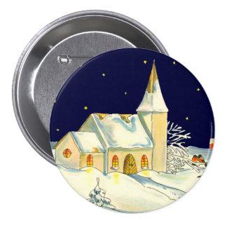 Christmas church winter scene 7.5 cm round badge