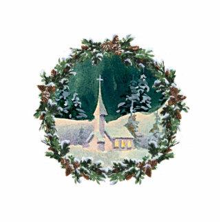 CHRISTMAS CHURCH & WREATH by SHARON SHARPE Photo Sculpture Decoration