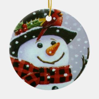 Christmas Circle Ornament/Snowman Ceramic Ornament