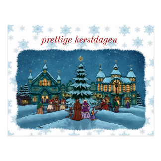 Christmas city postcard with snow edge Netherlands