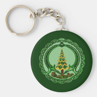 Christmas Claddagh Basic Round Button Key Ring