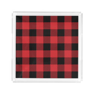 Christmas classic Buffalo check plaid pattern Acrylic Tray