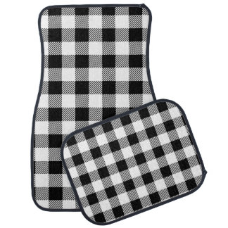 Christmas classic Buffalo check plaid pattern B&W Car Mat