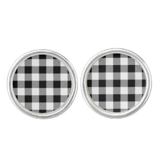 Christmas classic Buffalo check plaid pattern B&W Cufflinks