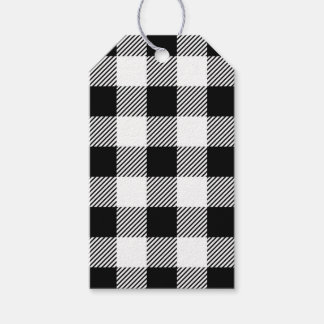 Christmas classic Buffalo check plaid pattern B&W Gift Tags