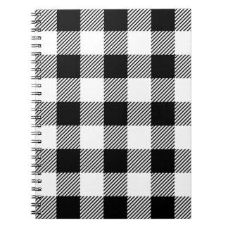 Christmas classic Buffalo check plaid pattern B&W Notebook