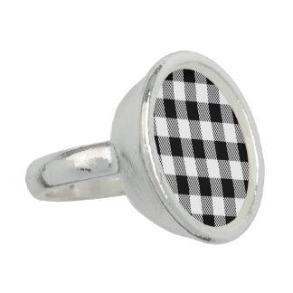Christmas classic Buffalo check plaid pattern B&W Ring