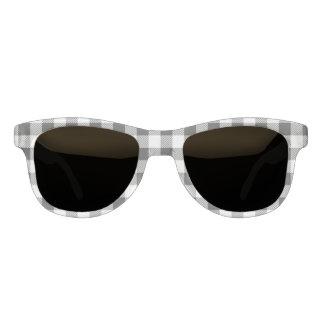Christmas classic Buffalo check plaid pattern B&W Sunglasses