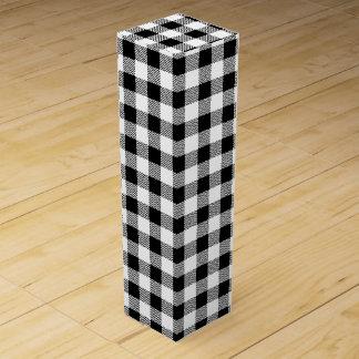 Christmas classic Buffalo check plaid pattern B&W Wine Box