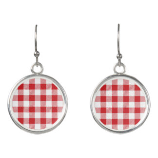 Christmas classic Buffalo check plaid pattern Earrings