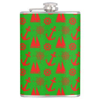Christmas Coastal Nautical Pattern Hip Flask