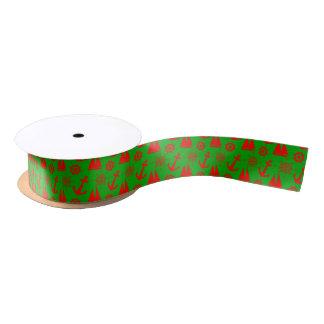 Christmas Coastal Nautical Pattern Satin Ribbon