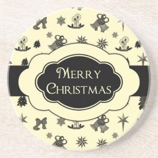 Christmas Coaster Black Yellow Merry Christmas