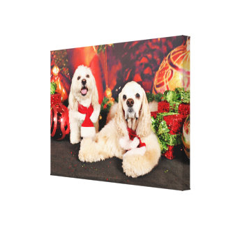 Christmas - Cocker - Toby, Havanese - Little T Canvas Print