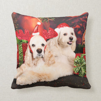 Christmas - Cocker - Toby, Havanese - Little T Cushion