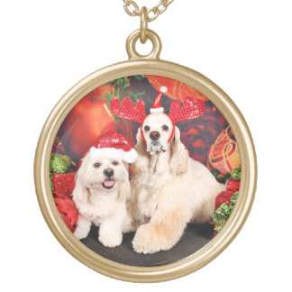 Christmas - Cocker - Toby, Havanese - Little T Gold Plated Necklace